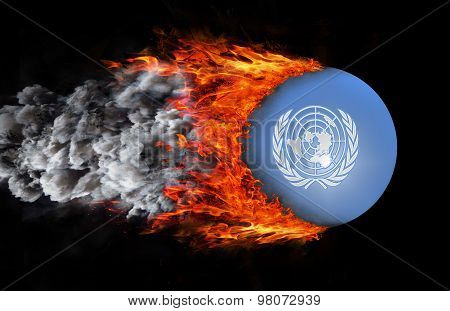 Flag With A Trail Of Fire And Smoke - United Nations
