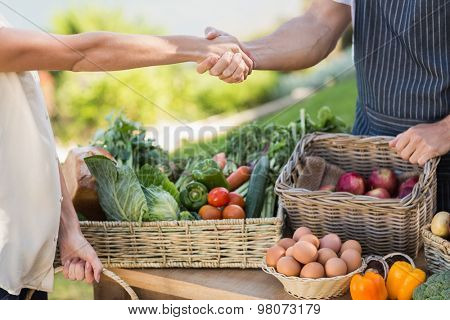Close up view of a farmer and customer shaking hands