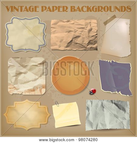 Set Of Old Crumpled Paper Backgrounds