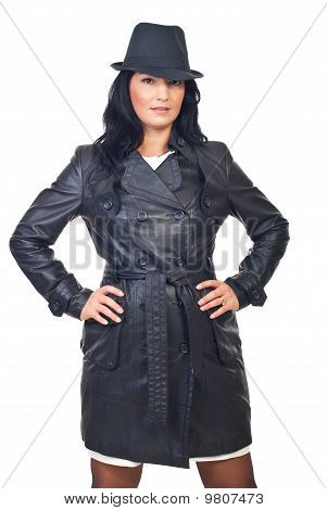 Beauty Model Female In Leather Jacket