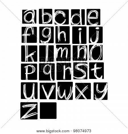 Illustration Vector Alphabet. Hand Drawn English Lowercase  Letters On Black Square Or Rectangular.