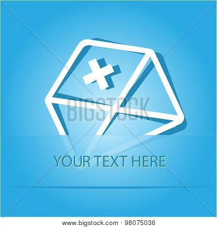 mail plus. Paper sticker as bookmark. Vector illustration. Eps10.