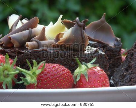Chocolate Cake And Strawberries 1