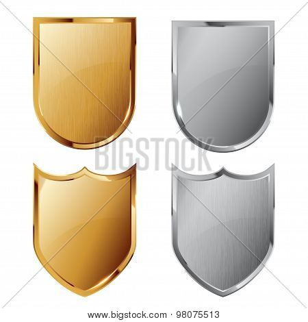 Collection of silver and golden shields