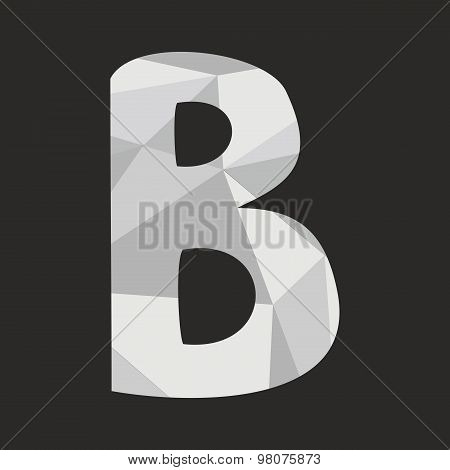 B low poly wrapping surface vector alphabet letter isolated on black background