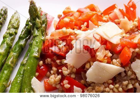 Vegetarian Buckwheat Risotto With Red Bell Peppers
