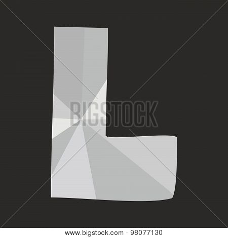 L low poly wrapping surface vector alphabet letter isolated on black background