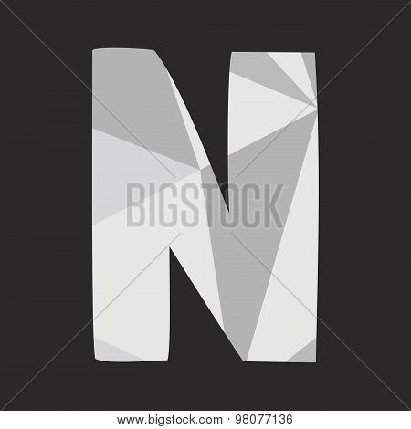 N low poly wrapping surface vector alphabet letter isolated on black background