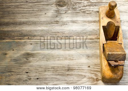 Old Wooden Jointers On The Wood Table With Grunge Texture