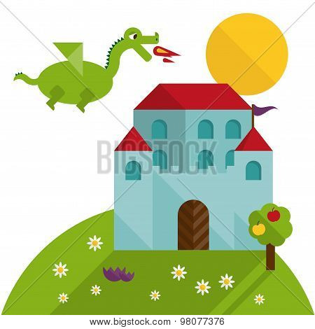 Flat Dragon And Castle