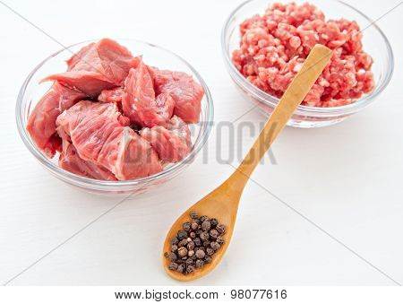 raw uncoocked meat food isolated at white background