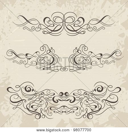 Calligraphic decorative elements. Set of design elements. Vintage hand drawn vector collection