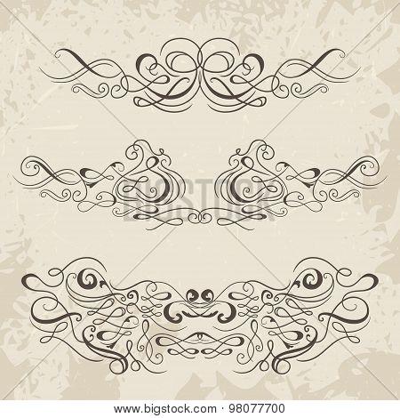 Calligraphic decorative elements. Set of design elements. Vintage hand drawn vector collection