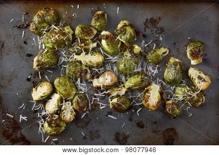 Roasted Brussels Sprouts with grated parmesan cheese. Horizontal format form a high angle.