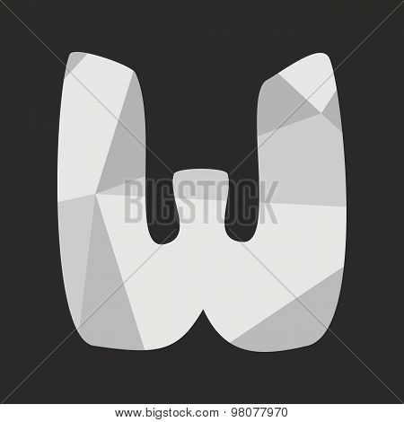 W low poly wrapping surface vector alphabet letter isolated on black background
