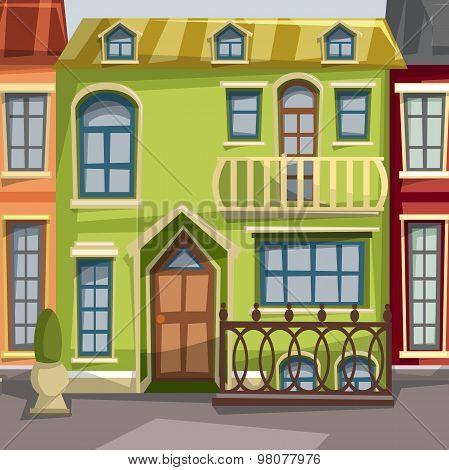 City houses facades. Vector illustration.