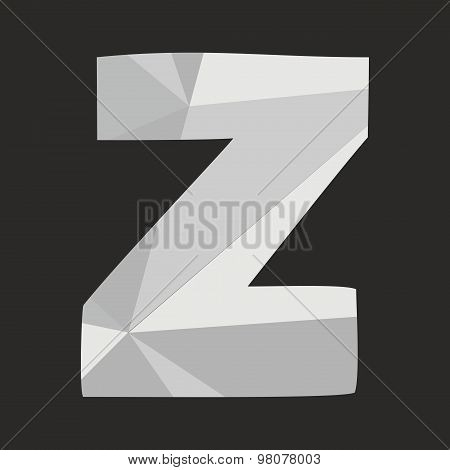 Z low poly wrapping surface alphabet letter isolated on black background illustration