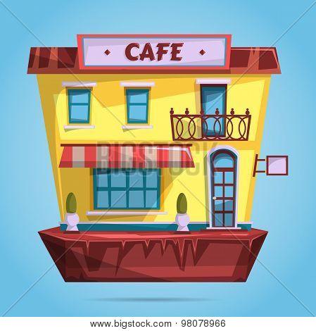 Cafe facade. Flat design vector illustration