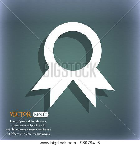 Award, Prize For Winner  Icon Symbol On The Blue-green Abstract Background With Shadow And Space For