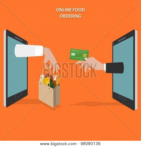 Online food ordering flat vector concept.
