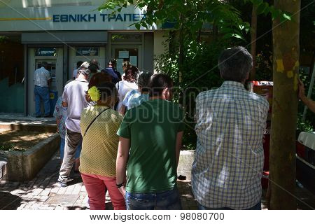 Line Of People Greek Bank