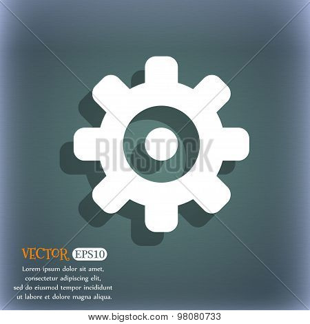 Cog Settings, Cogwheel Gear Mechanism  Icon Symbol On The Blue-green Abstract Background With Shadow