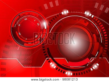 circle red abstract techno background