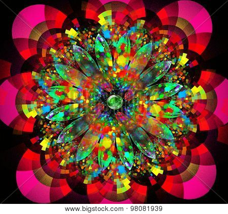 illustration fractal background with bright flower with bunches