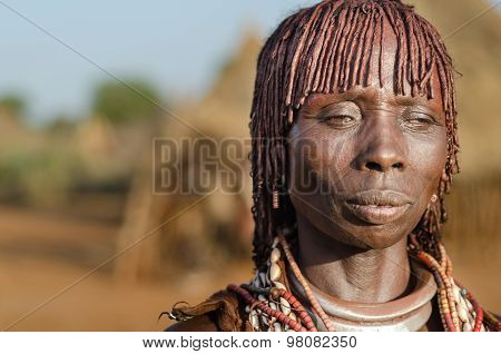Portrait Of Young Hamer Woman, Ethiopia, Omo Valley