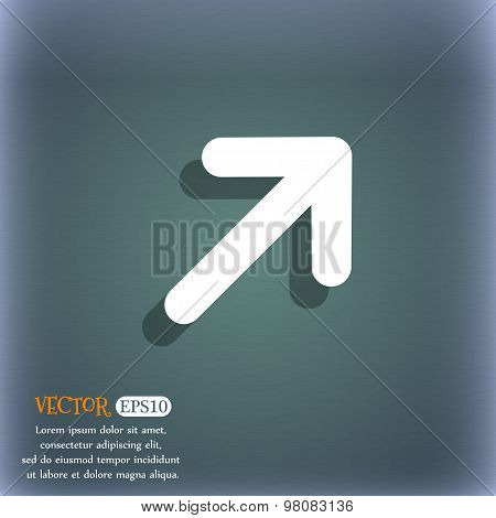 Arrow Expand Full Screen Scale  Icon Symbol On The Blue-green Abstract Background With Shadow And Sp