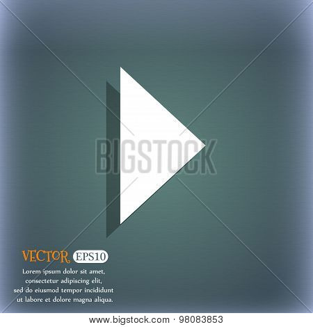 Play Button  Icon Symbol On The Blue-green Abstract Background With Shadow And Space For Your Text.