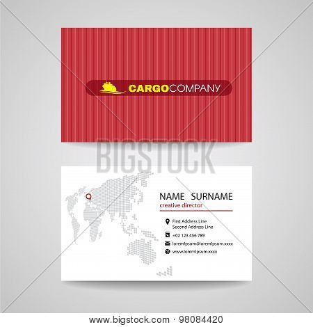 Business card red container vector background for cargo or shipping company