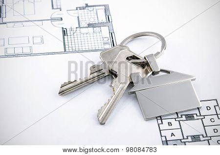 Keys And House Chrome Pendant With Home Shape