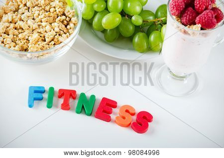 Fitness Word Made Up Of Letters With Magnets
