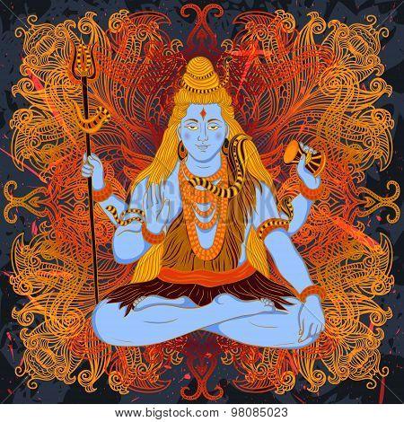 Vintage poster with sitting Indian god Shiva on the grunge background over ornate mandala round patt