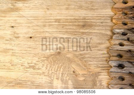 Clothespin On Wood Background. Copy Space To Right.