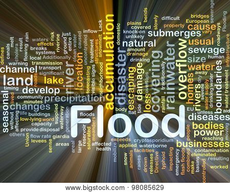 Background concept wordcloud illustration of flood glowing light