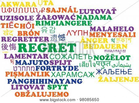 Background concept wordcloud multilanguage international many language illustration of regret