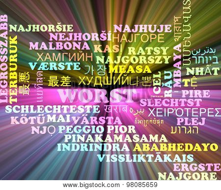 Background concept wordcloud multilanguage international many language illustration of worst glowing light