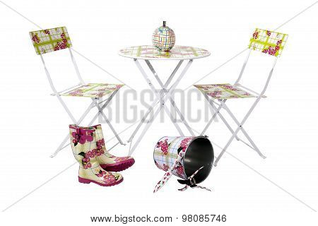 Composition With Rubber Boots, Garden Set And Metal Bucket , Table And Two Chair On White With Clipp