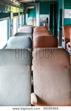 Old Worn Seats On A Train