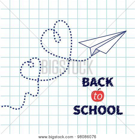 Origami Doodle Paper Plane Two Dash Heart Paper Sheet Background Exercise Book Back To School Flat D