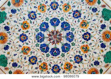 Exterior of the traditional colorful floral marble design produced by local muslim Bharai community.