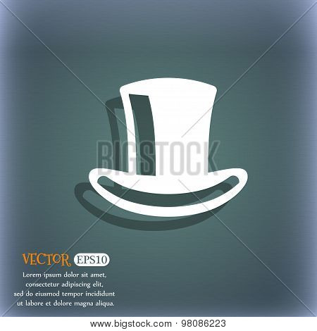 Cylinder Hat  Icon Symbol On The Blue-green Abstract Background With Shadow And Space For Your Text.