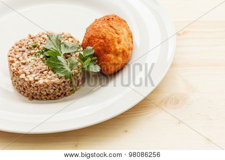 cutlet with buckwheat