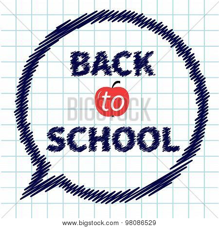 Back To School Doodle Text On Paper Sheet Background Think Talk Bubble Exercise Book Flat Design