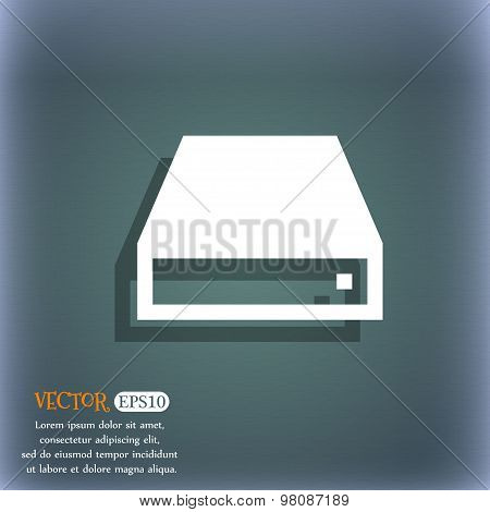 Cd-rom  Icon Symbol On The Blue-green Abstract Background With Shadow And Space For Your Text. Vecto