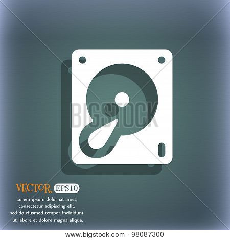 Hard Disk And Database  Icon Symbol On The Blue-green Abstract Background With Shadow And Space For
