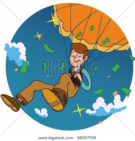 Smiling man fall on a golden parachute in circle