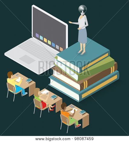 Education Concept. Vector 3d flat isometric with teacher, classroom and students